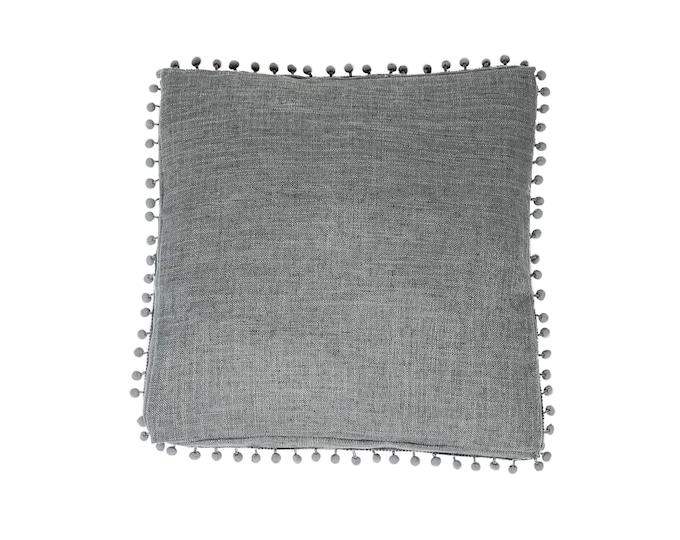 Grey Bonita Box Cushion. Organic Linen Decorative Pillow with Pom Pom Trim