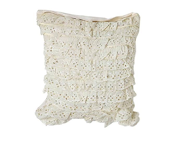 """Cascading Ruffles Throw Pillow - 16"""" x 16"""" White Crochet Pillow - Western Lace Accent Pillow"""