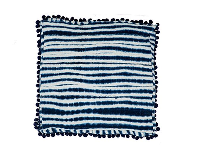 Bonita Box Cushion - Indigo Mud cloth - Decorative Bedding Sham - EURO + KING