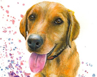 Golden orange Labrador Dog painting print, High quality print, painting was originally made with watercolour and pastels