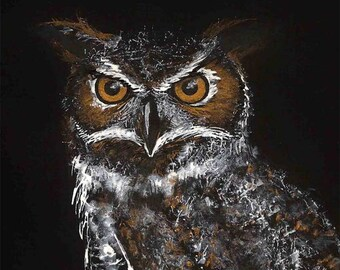 Owl original illustration gold white ink black paper
