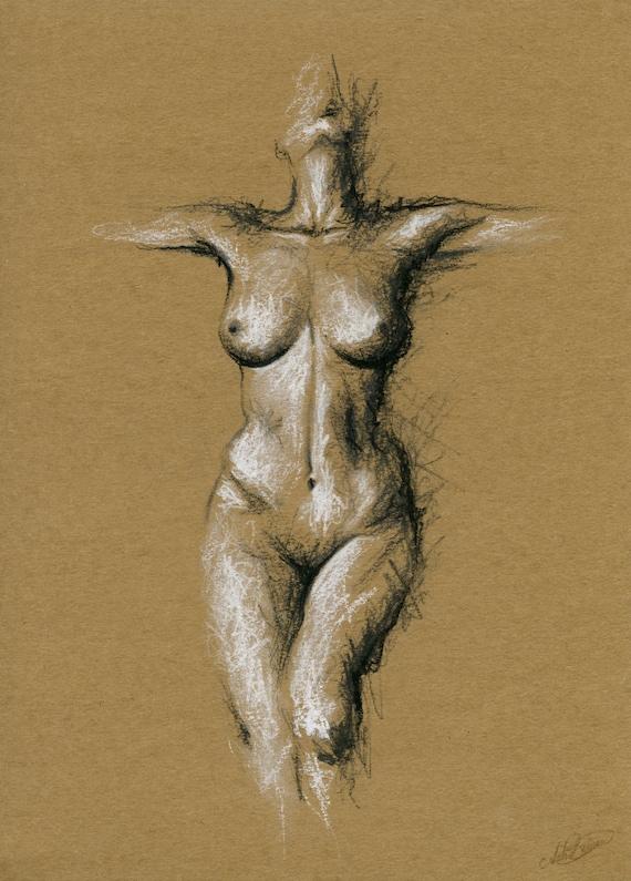 Nackt nackt Anatomie Abbildung print Skizze zeichnen   Etsy