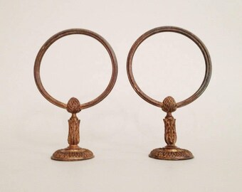 towel stand bronze. Pair Of Antique Bronze Towel Holder - Ring Stand E