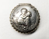 Delightful Antique Silver Plated Small Box with Cherubs Decor - Silver Plated Pillbox