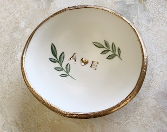 Personalized Wedding Gift /  Jewelry Dish / Date and Initials / Wedding Gift / Personalized Gift / Personalized / Engagement Gift /