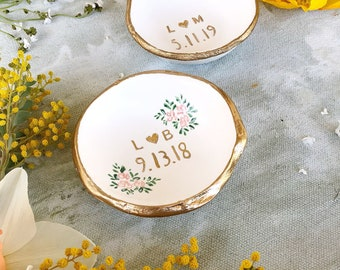 Wedding Ring Holder /  Wedding Gift / Date and Initials / Unique Gift / Personalized Gift / Jewelry Dish / Engagement Gift / Bridesmaids