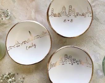 Skyline Ring Dish, Personalized Skyline Jewelry Dish, Personalized Gift, Anniversary Gift, Engagement Gift, Wedding Gift, Custom Gift