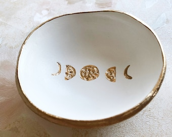 Ring Holder Dish, Moon Phases, The Painted Press Ring Dish, Jewelry Dish, Phases of the Moon Jewelry Holder Trinket Tray, Horoscope Gift