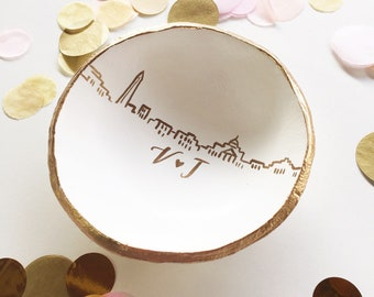 Personalized Skyline Jewelry Dish, Ring Dish, Catch all, Personalized Gift, Anniversary Gift, Engagement Gift, Wedding Gift, Custom Gift