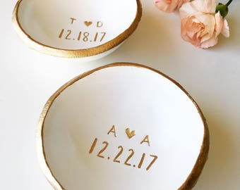 Gift for Her /  Jewelry Dish / Date and Initials / Wedding Gift / Personalized Gift / Personalized / Engagement Gift / Bridesmaids