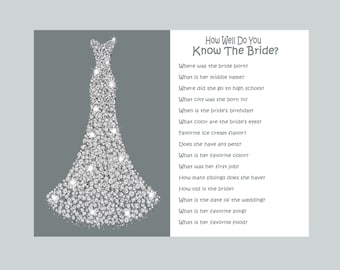 Bridal Shower Games, Wedding Shower Games, How Well Do You Know The Bride, Printable Who Knows The Bride Best Bridal Quiz Gray and White 355
