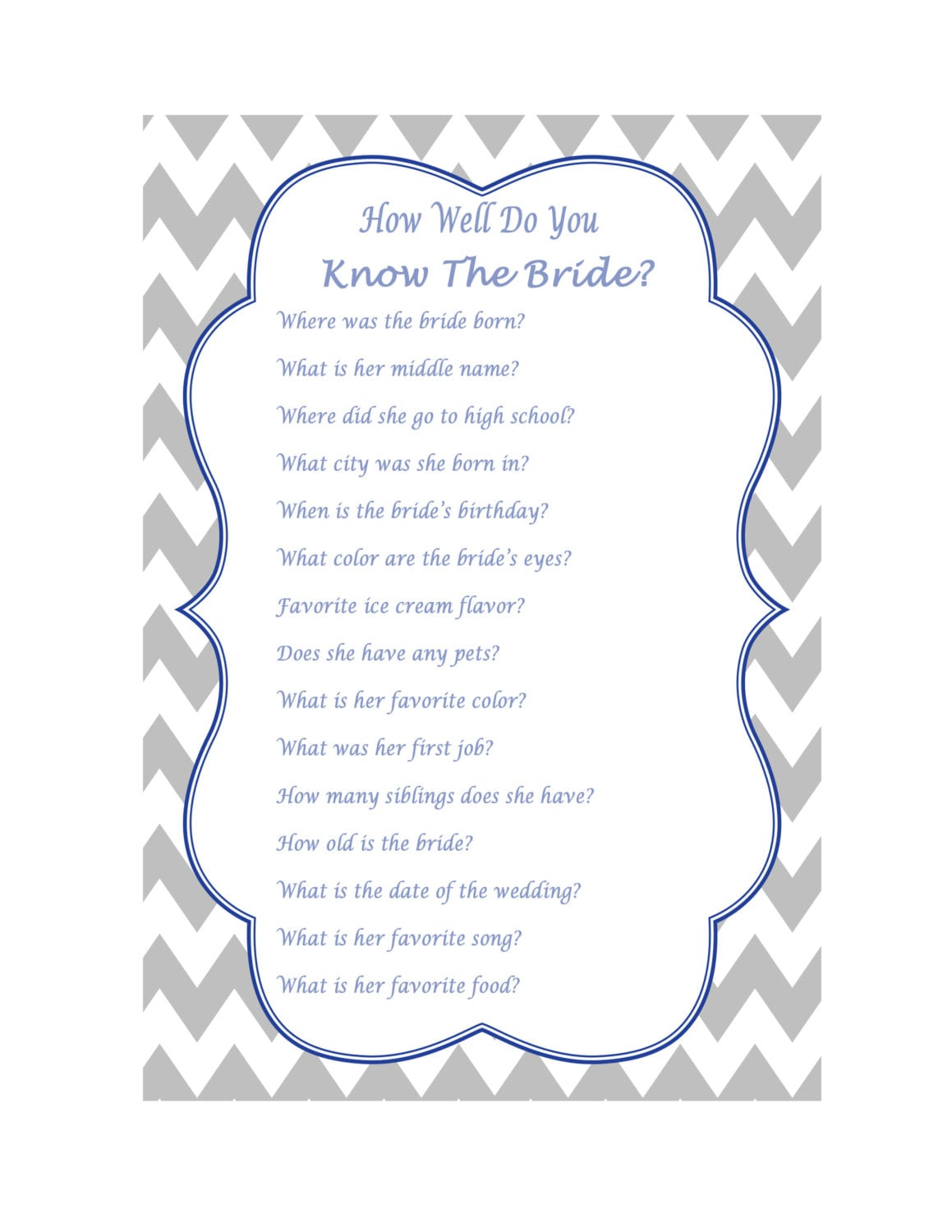 How Well Do You Know The Bride Wedding Quiz Wedding Trivia Etsy