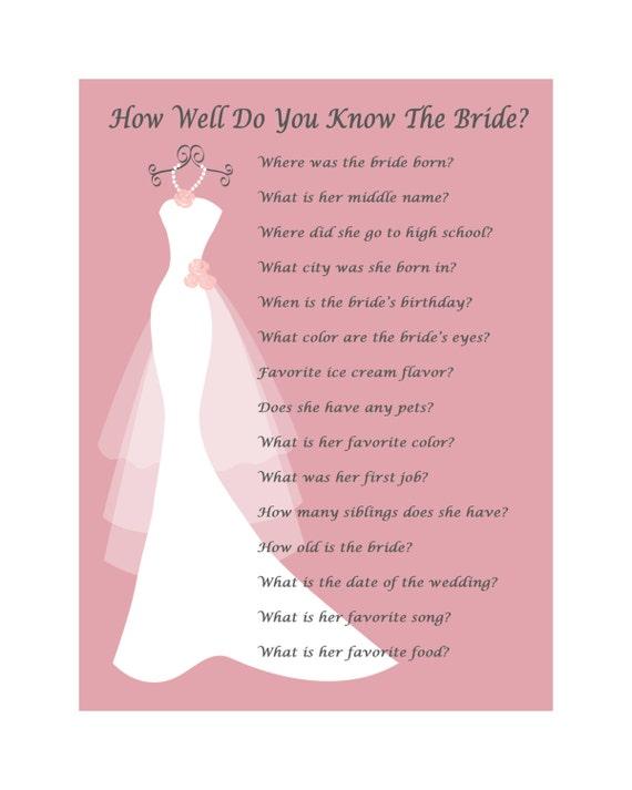 Bridal Shower Gry Do Druku Jak Dobrze Znasz Pannę Młodą ślubne Etsy