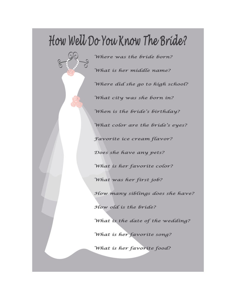 63804c27a5c5 Bridal Shower Game How Well Do You Know The Bride Game Print