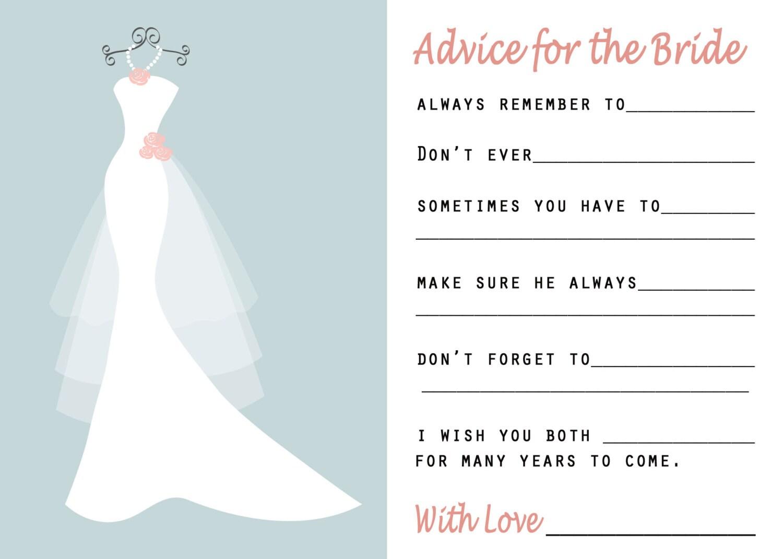 Bridal Shower Advice Cards Happy Wedding Wishes Wedding Etsy