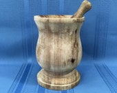 Vintage Wood Mortar and Pestle, Rustic, Country, Farmhouse Kitchen Decor, Primitive Wooden Mortar Pestle Herb Spice Grinder