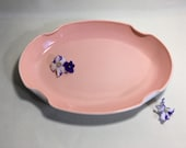Fire King Vitrock Pink Multi Purpose Tray Shallow Oval Dish, vintage 1940 39 s Dresser Vanity Tray, Serving Dish, Soft Peachy Pink, Great Lines