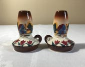 Ceramic Salt Pepper Shaker Set Oil Lamp Lanter Shaped Hand Painted Tulips-Cottage Scene, Vintage Mid-Century Made in Japan, Collectible