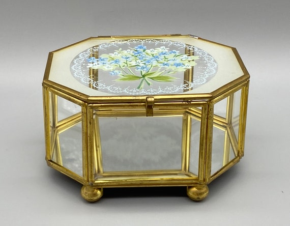 vintage octagon footed brass /& clear glass curio style trinket box case with etched swan and mirror storage retro vanity keepsakes jewelry