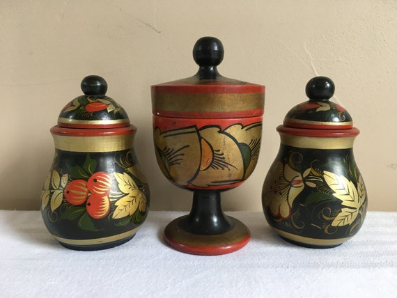 Made in USSR,Traditional Russian Folk Art 2 Wood Jars Hand Made Khokhloma Hand-Painted Wood Russian Wooden Jar Khokhloma Folk Art
