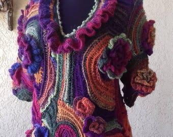 Crochet Blouse/Freeform Bohemian Unique design Blouse/Boho Colorful sweater,Jacket/Asymmetrical Wool blouse/Women Blouse/Free shipping