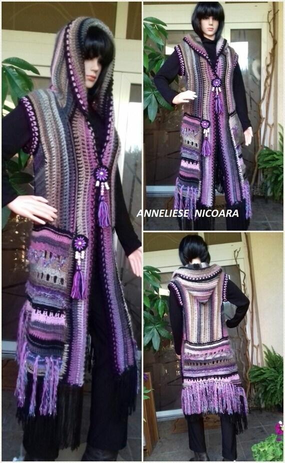 Hooded Mouwloos Vestvrouwen Haak Sleevless Jas Purple Grijs Etsy