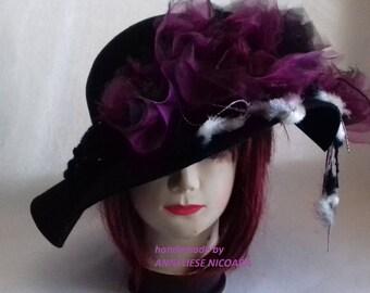 Black Hat with shabby chic Purple Flowers/Purple(remouvable) Flowers on Black felt Hat/Unique design