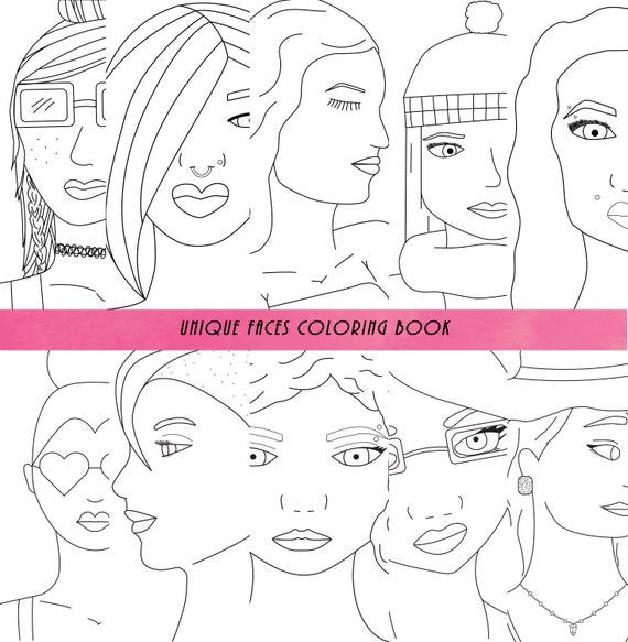 Adultos todas las edades para colorear libro caras única | Etsy