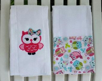 Monogrammed Owl Burp Cloths Gift Set!