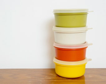 Vintage Tupperware Set 1970s Tupperware Containers Coloured Plastic Storage Pots Vintage Picnic Food Containers Made in Britain Set of 4