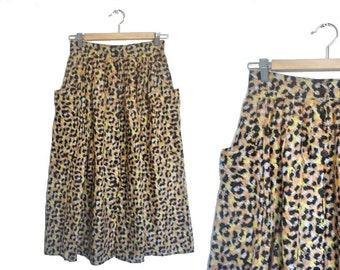 Leopard Print Skirt 70s Cotton Skirt 1970s Button Front Skirt High Waist Vintage Skirt Thin Cotton Summer Skirt UK Size 8