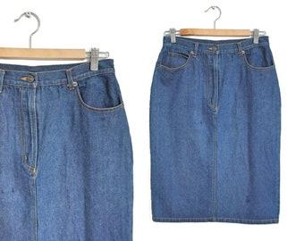 3d5c3261a3 90s Blue Denim Skirt 1990s High Waist Jean Skirt Vintage Hipster Knee  Length Skirt Minimal Fashion Midi Grunge UK Size 12