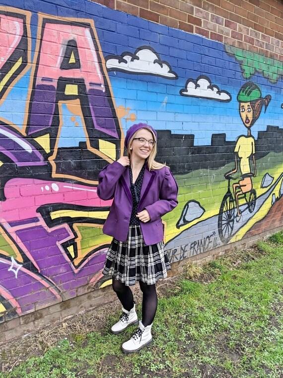 80s Violet Purple Jacket, Purple Pure New Wool, 80