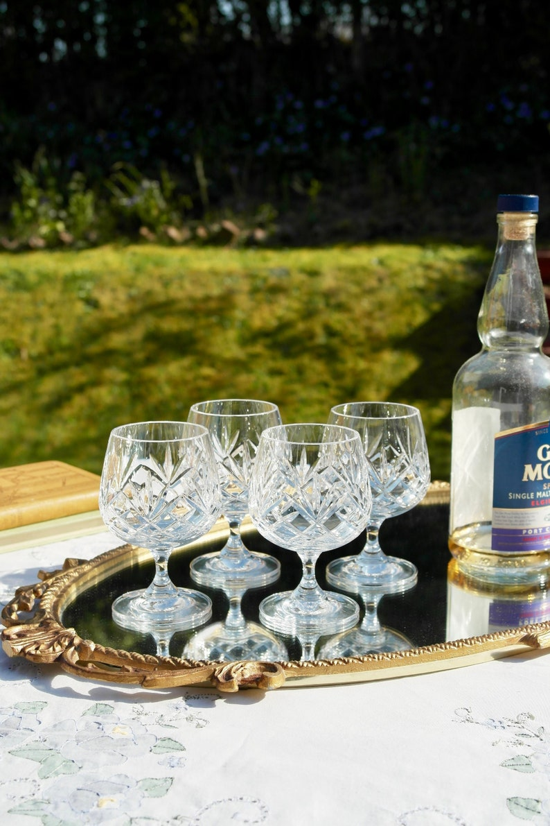 Crystal Brandy Glasses Vintage Crystal Brandy Snifters 80s Vintage Brandy  Liqueur Glasses Vintage Cut Glass Drinking Glasses Set of 4