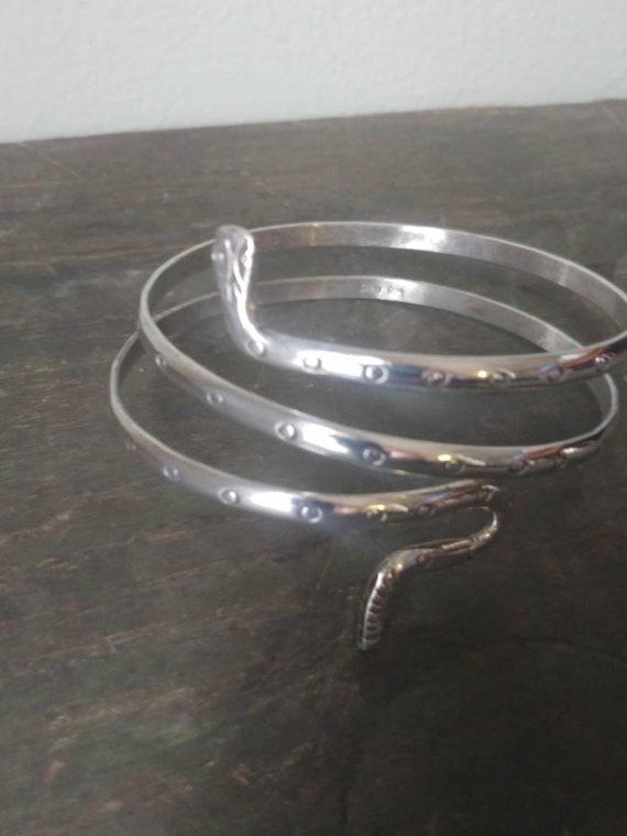 Vintage Taxco Sterling Triple Coil Snake Bracelet,