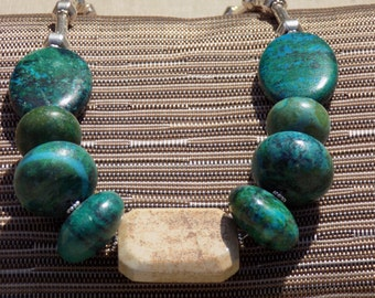 Blue/Green and Tan Stone Necklace