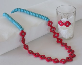 Turquoise and Red Natural Stone Bead Necklace and Earing Set