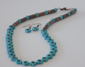 Brown and Turquoise Necklace Set