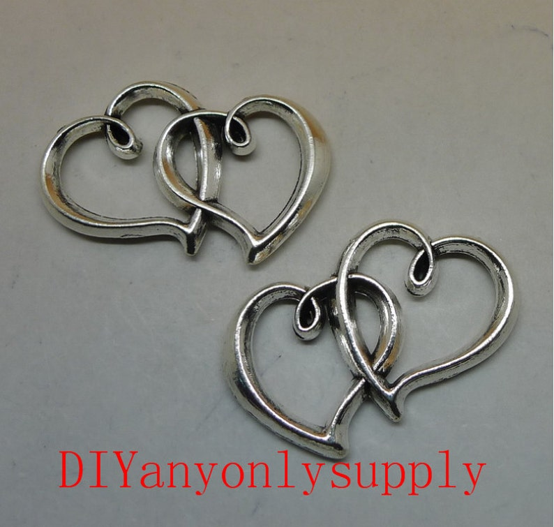 lead and nickel free---50pieces 31x24mm antiqued silver Double heart love zinc alloy charms findings