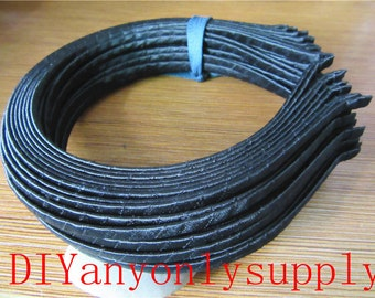 lead and nickel free---20pieces 5mm width black satin ribbon cover hairbands metal findings