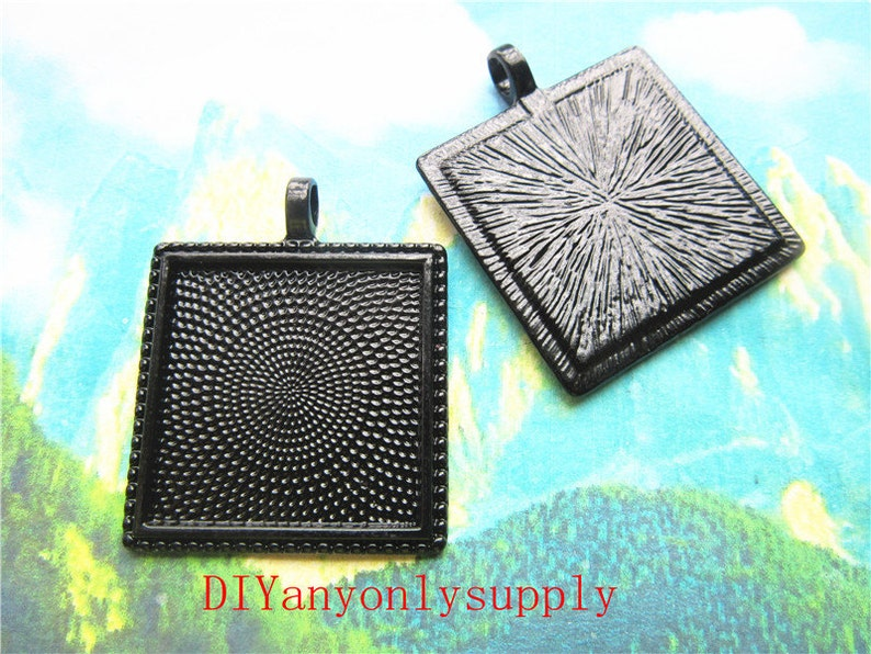 cabochon size black filigree square cabochon bezel trayspendant blankpicture frame charms findings lead and nickel free---100pcs 25x25mm