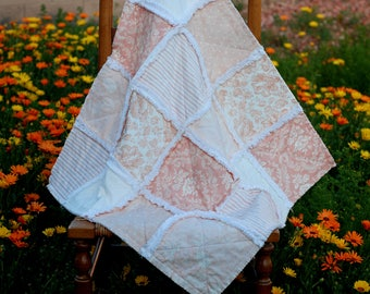 """Rag Quilt, Shabby Chic Baby Quilt, Stroller Quilt, 29"""" x 29"""", Peach and White, Baby Girl, Baby Shower Gift"""