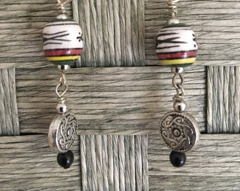 Ceramic Earrings with Onyx and Silver Bead