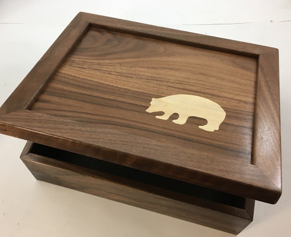 gift for him.Mens dresser valet gift for hunters Anniversary gift.Marquetry Retirement inlay Polar Bear Inlaid.Memory box Walnut  box