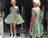 LAST ONE Turquoise Floral Flare Dress with Pockets. On Off Shoulder Medium Will fit larger too