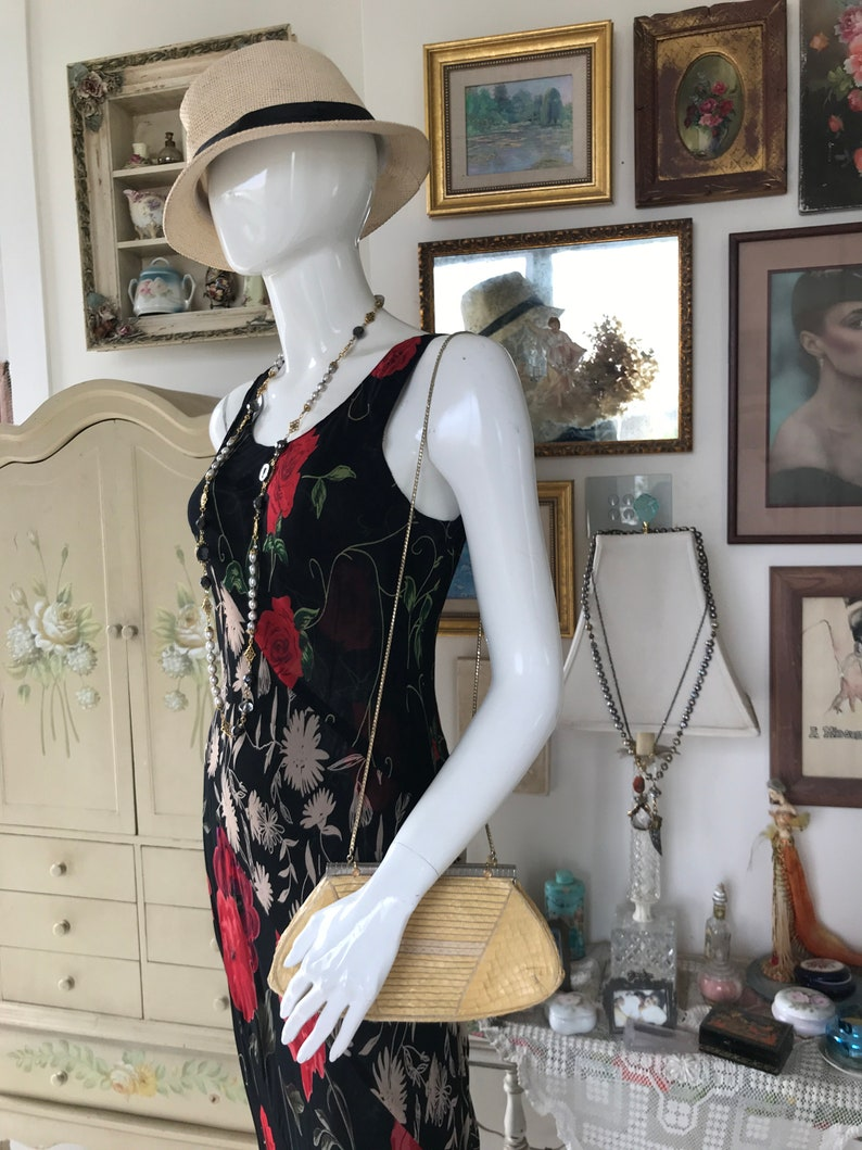 Vintage Black and Red Floral Maxi Dress Reversable Two dresses in one.