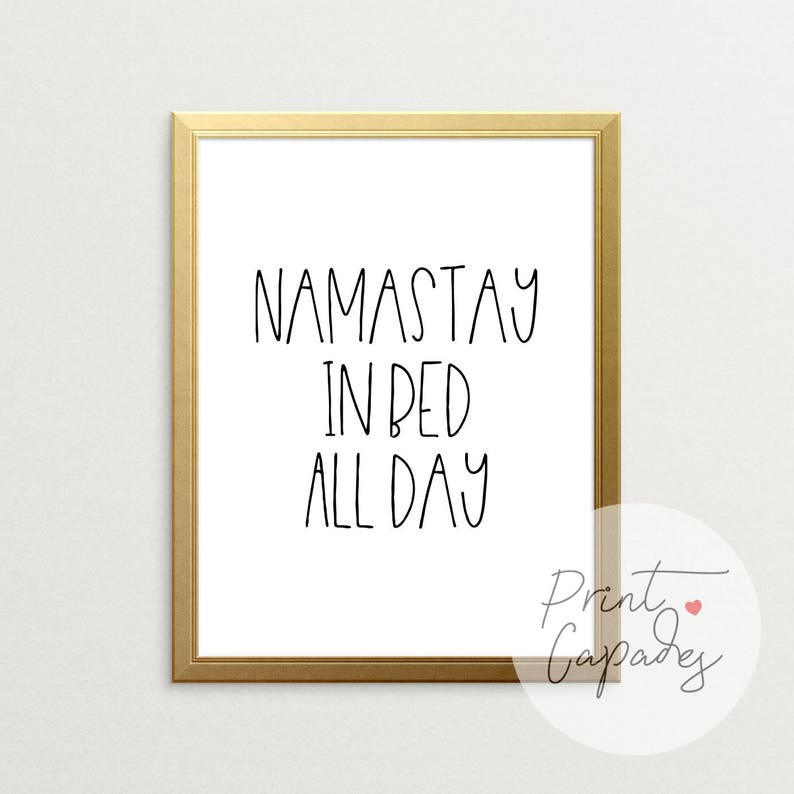 Printable Art Namastay In Bed Namaste In Bed Wall Art Couples Gift Bedroom Decor Bedroom Wall Decor Bedroom Wall Art Room Decor
