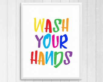 PRINTABLE ART, Wash Your Hands, Bathroom Wall Art, Bathroom Art, Bathroom Wall Decor, Colorful Wall Art, Kids Bathroom Art