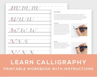 Learn Calligraphy Printable Workbook w/ Instructions - learn hand lettering for beginners, brush pen lettering, how to, instant download