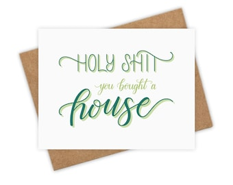 Funny new home card etsy holy shit you bought a house housewarming card new house new home adulting card greeting card funny card love handlettered m4hsunfo